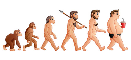 Vector illustration of Cartoon human evolution Illustration