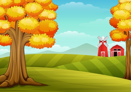park: Autumn trees in farm landscape with barn and windmill