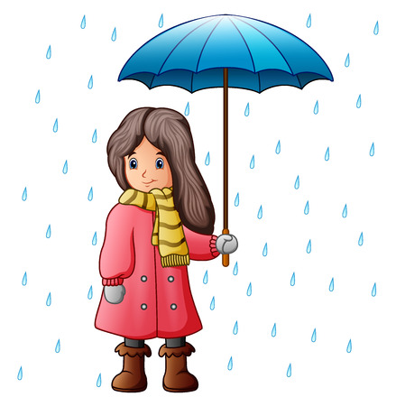 Girl under raindrops with umbrella Stock Photo