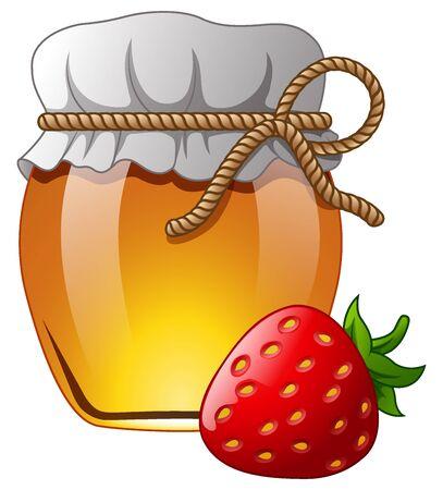 Glass jar of honey with strawberry