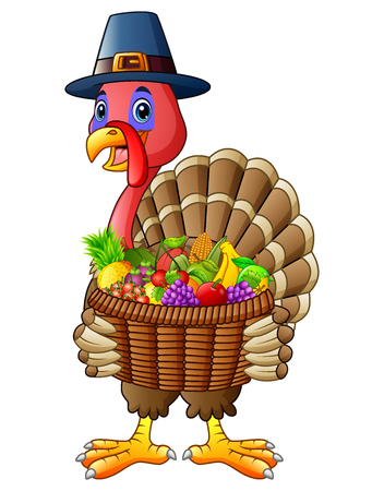 Vector illustration of Cartoon turkey holding basket full of fruits and vegetables