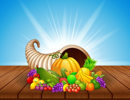 Vector illustration of Autumn cornucopia with vegetables and fruits on wooden table