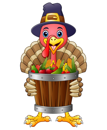 Vector illustration of Cartoon turkey with basket full of fruits and vegetables