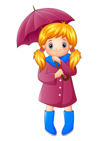 A Vector illustration of Beautiful autumn girl holding umbrella.