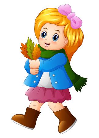 A Vector illustration of Little girl holding autumn leaves.
