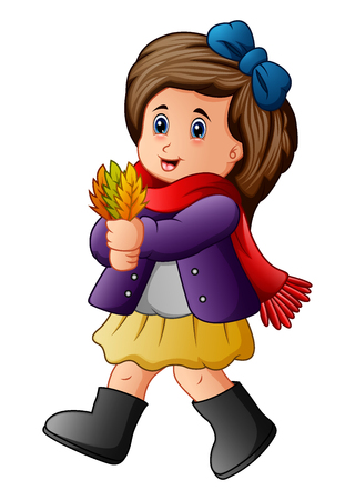 A Vector illustration of Cute little girl holding autumn leaves.