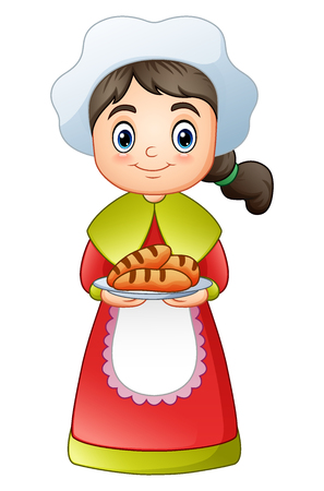 A Vector illustration of Pilgrim girl carrying a delicious bread.