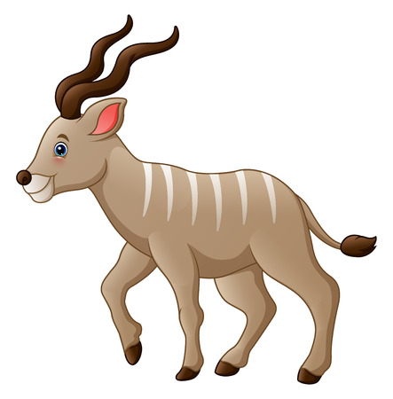 A Vector illustration of Cartoon kudu antelope. Illustration