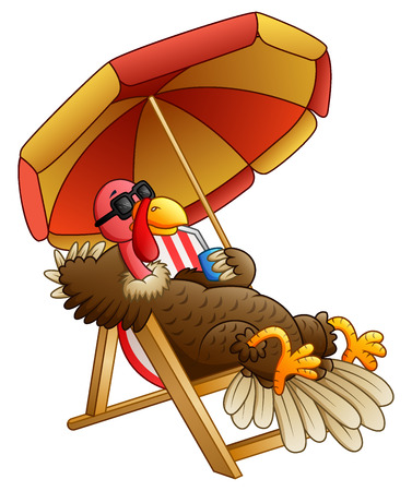 A Vector illustration of Cartoon turkey bird sitting on beach chair.