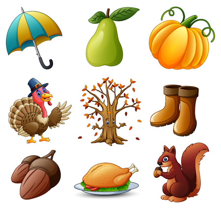 A Vector illustration of Set of thanksgiving elements on white background.