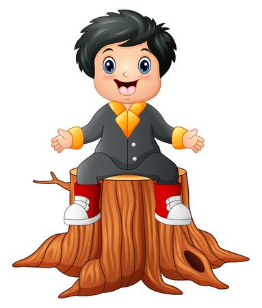 zapatos escolares: Niño feliz de dibujos animados sentado en tocón de árbol Foto de archivo