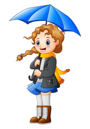 Beautiful autumn girl holding umbrella Stock Photo