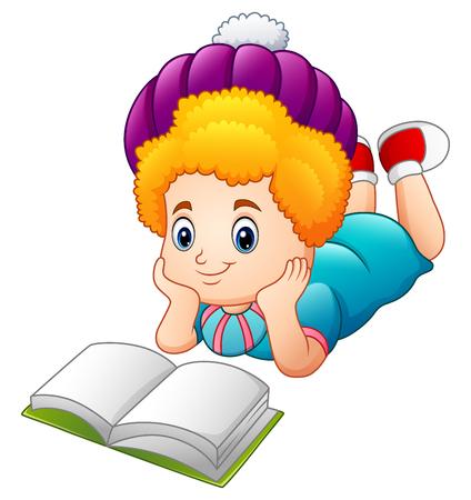 storybook: Cartoon happy girl reading book Stock Photo
