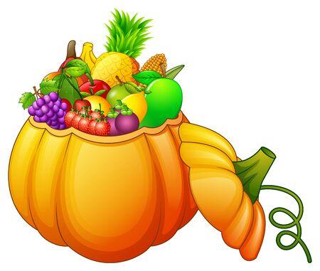 과일과 야채로 가득 찬 호박 바구니 스톡 콘텐츠 - 89544524