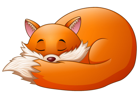 A Vector illustration of cute fox cartoon sleeps on white background.  イラスト・ベクター素材