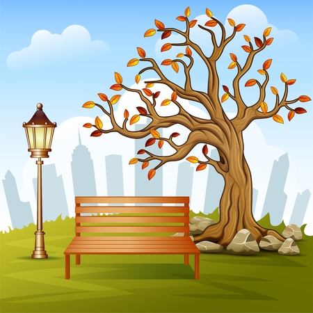 A Vector illustration of Beautiful autumn city park with town building background.