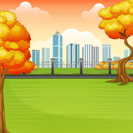 Vector illustration of Beautiful autumn park with city buildings