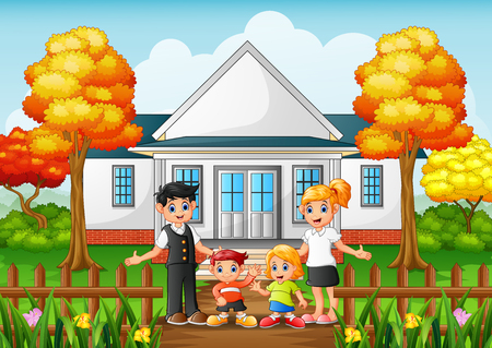 Vector illustration of Cartoon happy family in the front yard of the house Illustration