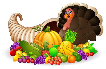 Thanksgiving horn of plenty cornucopia full of vegetables and fruit with cartoon turkey bird