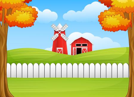 Cartoon farm landscape with windmill and barn Stock Photo