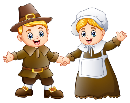 Vector illustration of Thanksgiving day of pilgrim couple waving