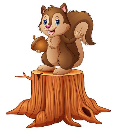 Ilustración de vector de ardilla de dibujos animados de pie en tocón de árbol sosteniendo una bellota