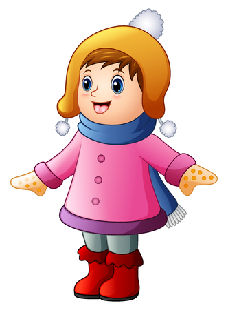 Vector illustration of Little happy girl in winter clothes Illustration