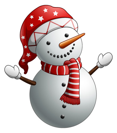Vector illustration of Cartoon snowman isolated on white background