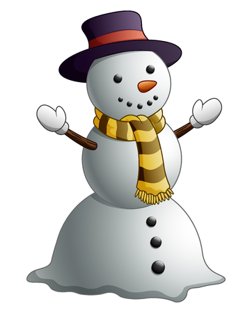 Vektorové ilustrace kreslený sněhulák izolovaných na bílém pozadí