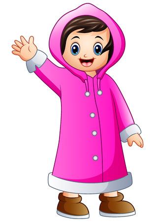 wave hello: Illustration of Cartoon girl in pink winter jacket waving.