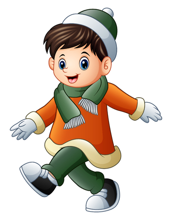 Illustration of Cartoon boy in winter clothes walking.