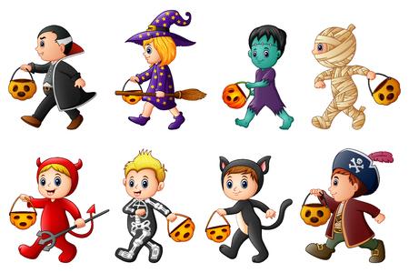Vector illustration of kids in Halloween costumes. Illustration
