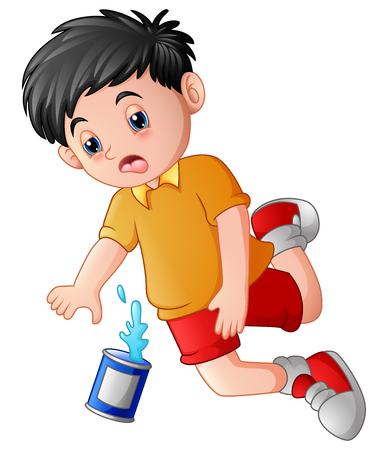 Ilustración del niño de dibujos animados cayendo con latas.
