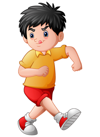 Vector illustration of Funny cartoon boy sticking his tongue out