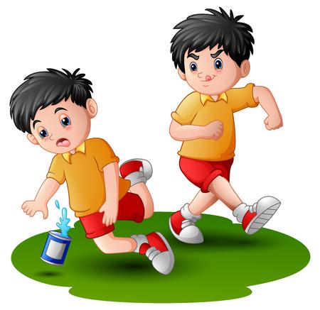 Vector illustration of Cartoon boy kicking others kid leg