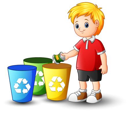 Un'illustrazione di vettore del ragazzo che mette alluminio nel recipiente di riciclaggio.