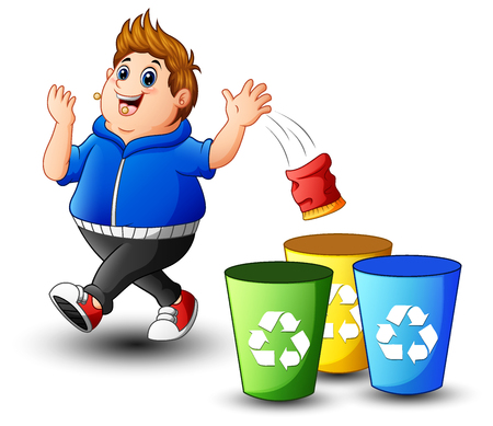 A vector illustration of Fat boy throws garbage in the trash. Illustration