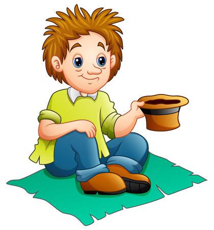 A vector illustration of beggar man cartoon.