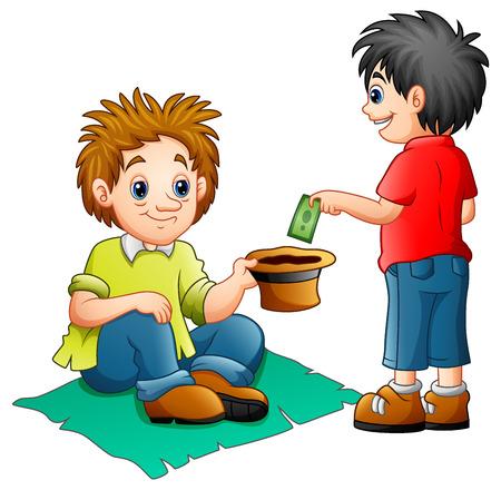 Vectorillustratie van een jongen geld geven aan een bedelaar