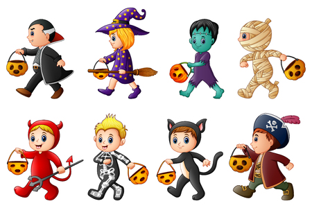 Happy Halloween. Set of cute cartoon children in Halloween costumes Imagens - 88149807