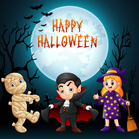 Cartoon kids with Halloween costume