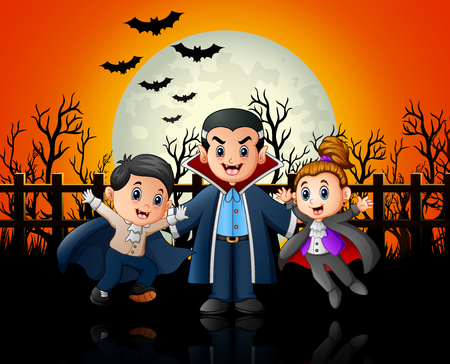 Funny cartoon vampire with costume at night background