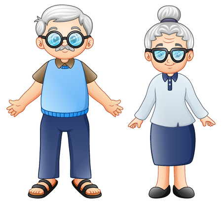Vector illustration of Cartoon elderly couple