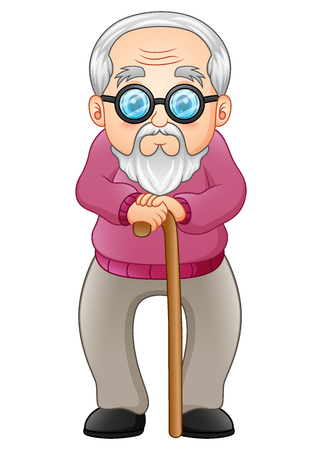 Vector illustration of Old man with walking stick