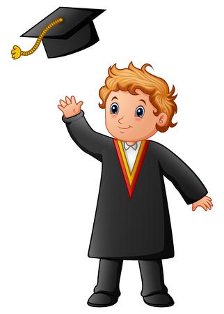 Vector illustration of Happy boy in black graduation gown