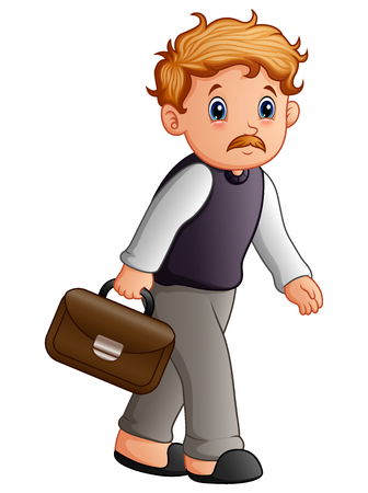 Vector illustration of Grandfather walking with briefcase