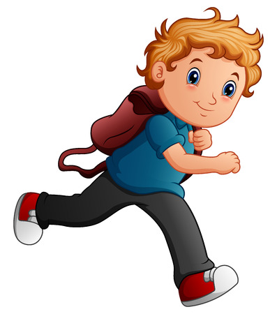 School boy cartoon running