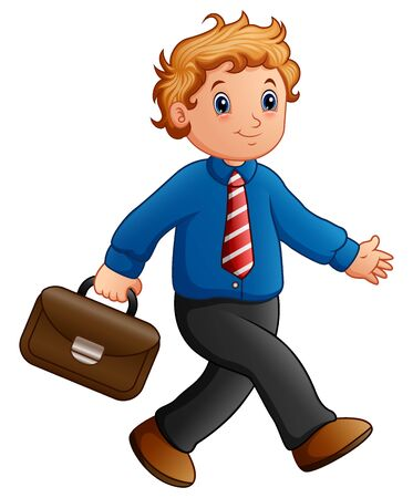 Cartoon businessman walking with briefcase