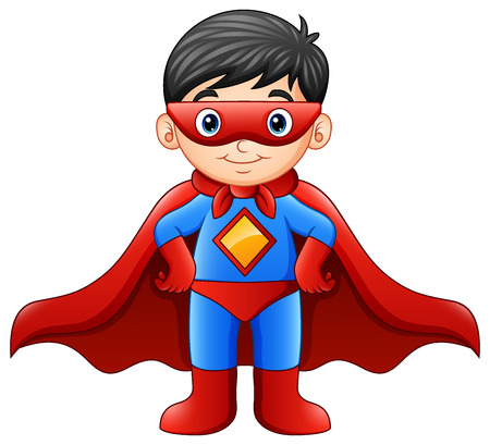 Vector illustration of Cartoon superhero boy