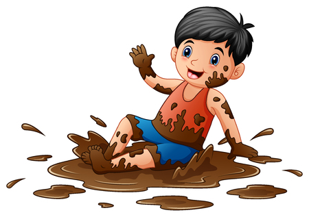 Vector illustration of Little boy playing in the mud Çizim